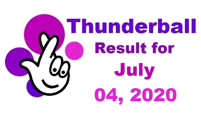 Thunderball Results for Saturday, July 04, 2020