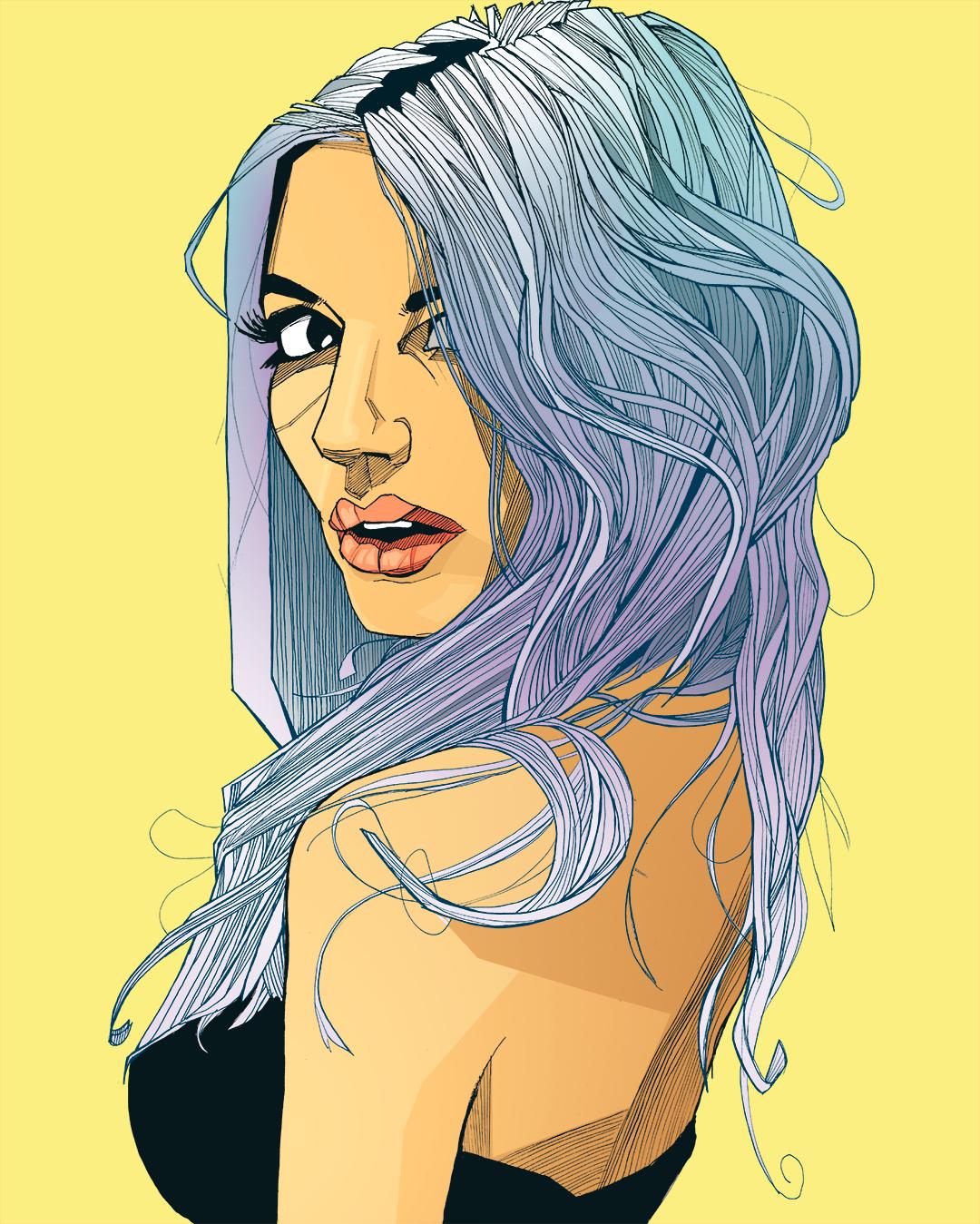 Pretty girl with blue hair art