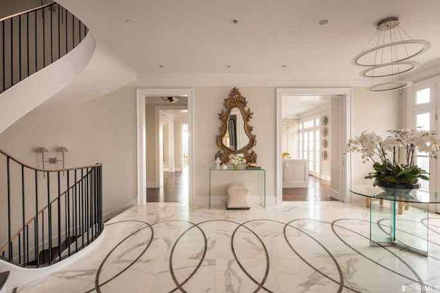 Foyer with marble flooring