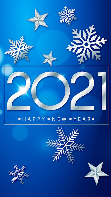 2021 Happy New Year blue background