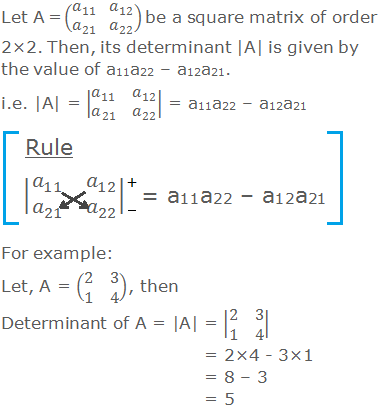 Let A = (■(a_11&a_12@a_21&a_22 )) be a square matrix of order 2×2. Then, its determinant |A| is given by the value of a11a22 – a12a21. i.e. |A| = |■(a_11&a_12@a_21&a_22 )| = a11a22 – a12a21 For example: Let, A = (■(2&3@1&4)), then Determinant of A = |A| = |■(2&3@1&4)| = 2×4 - 3×1 = 8 – 3 = 5