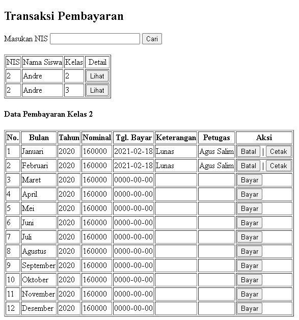 Aplikasi Pembayaran SPP Part 14 - Tampilan halaman pembayaran