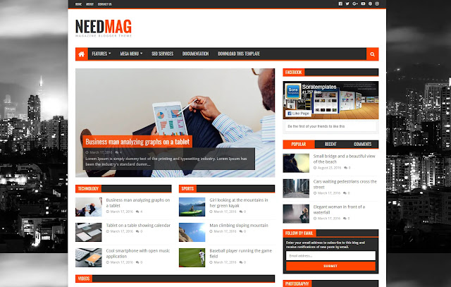Need Mag Responsive Magazine News Sites Blogger Template Theme