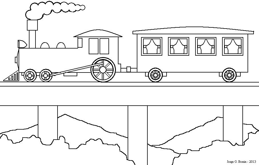 Arte No Paint Desenho Para Colorir Trem Na Ponte