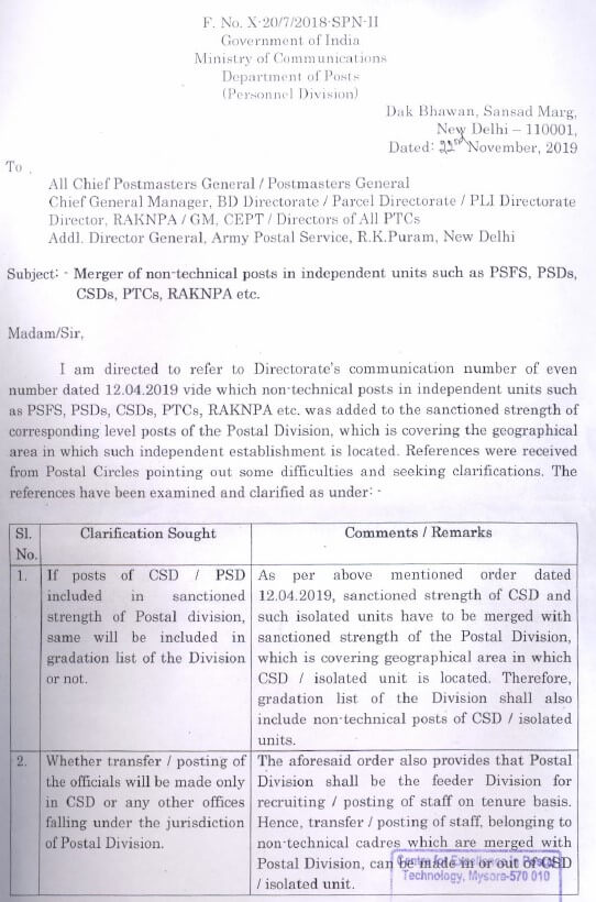 Merger of Non Technical posts in independent units such as PSFS, PSD, CSD, PTC, RAKNPA