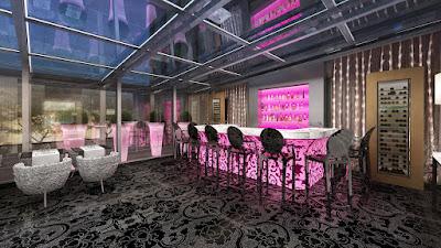 Perspective 3d bar hôtel de luxe de nuit