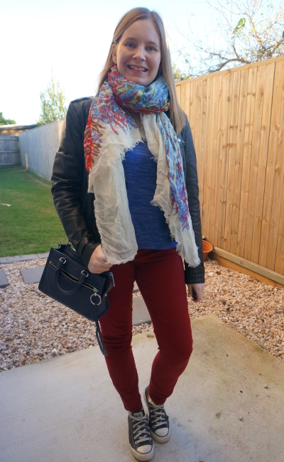 burgundy and cobalt knit and skinny jeans with leather jacket and scarf converse winter school run outfit | away from blue