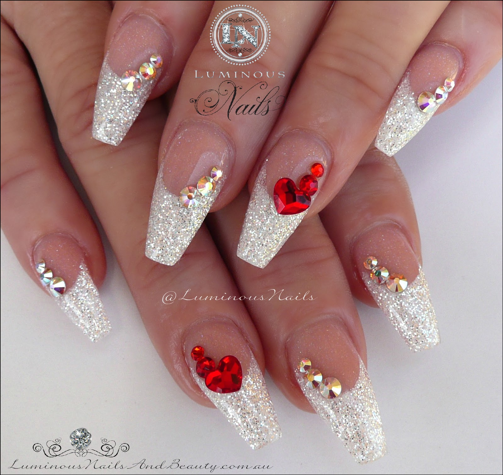 white christmas nails with a touch of red - Red Christmas Nails