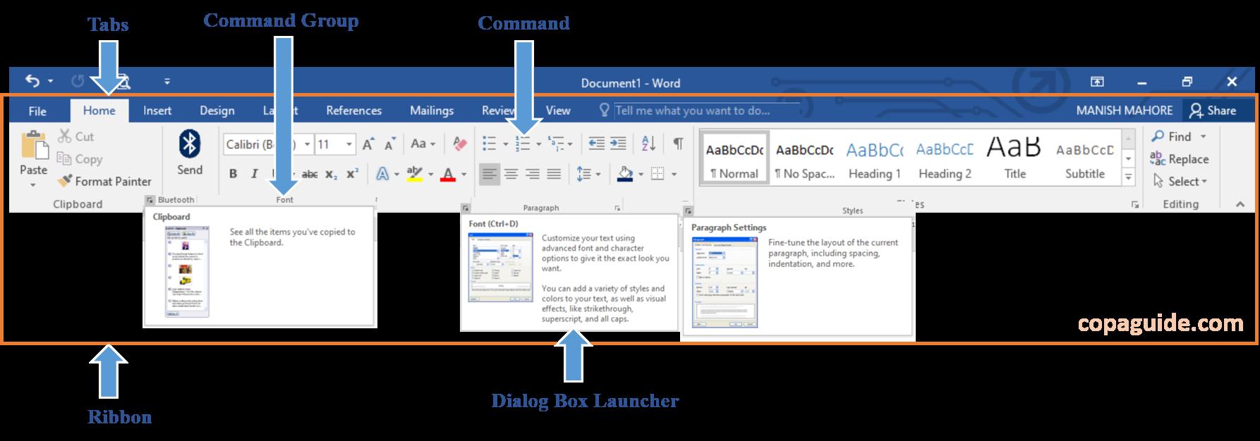 Microsoft Word Using Ribbon