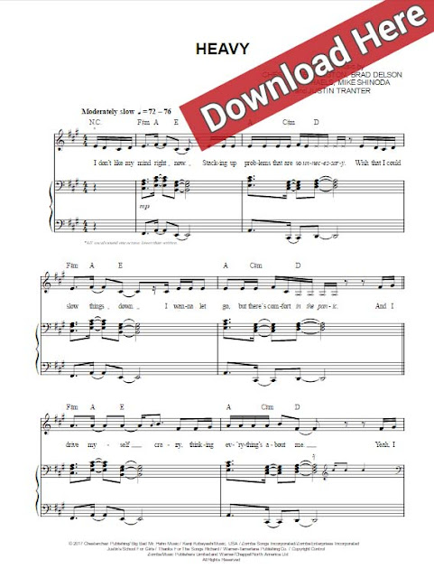 linkin park, heavy, kiiara, sheet music, piano notes, chords, download, pdf, klavier noten, keyboard, voice, vocals, video