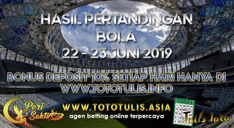 HASIL PERTANDINGAN BOLA TANGGAL 22 – 23 JUNI 2019