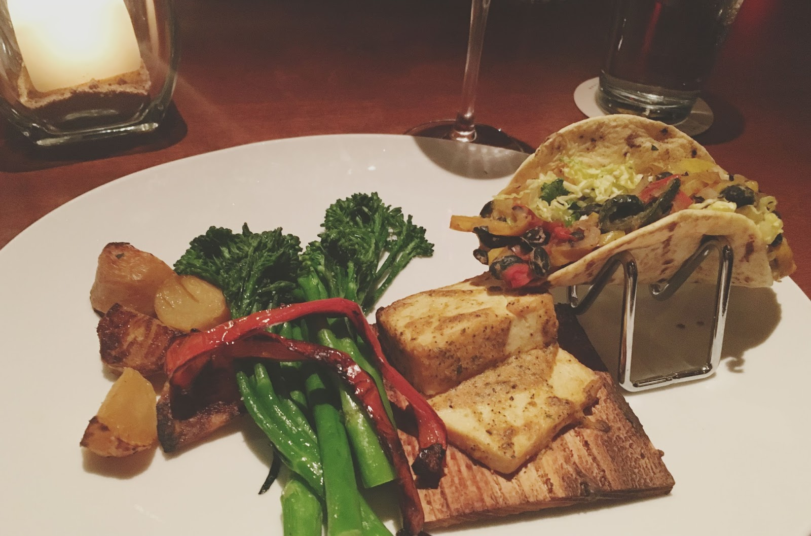 vegan tasting platter at Seasons 52, a restaurant in Houston, Texas