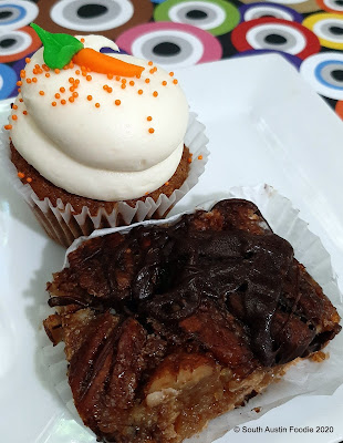 Sugar Mama's carrot cupcake and bourbon pecan bar