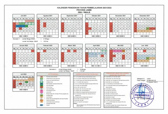Download Kalender Pendidikan Tahun Pelajaran 2021/2022 Dinas Pendidikan Provinsi Jambi