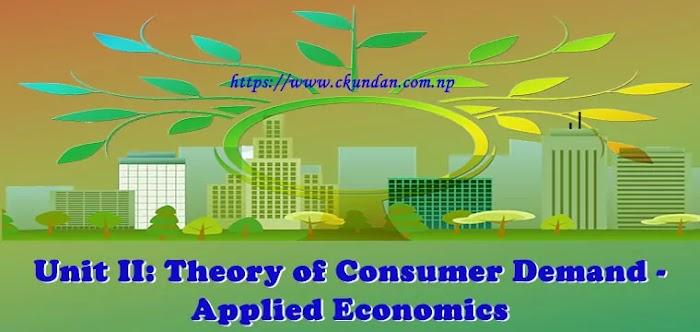 Unit II: Theory of Consumer Demand - Applied Economics