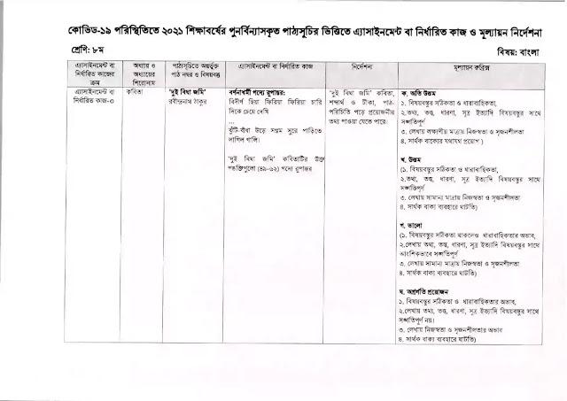 9th Week Class 8 Bangla Assignment 2021
