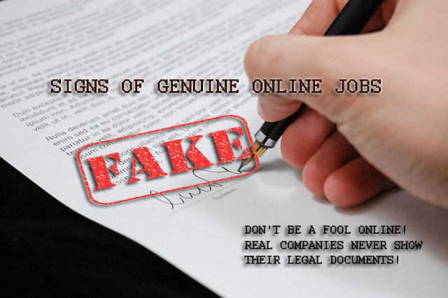 Signs of genuine online jobs