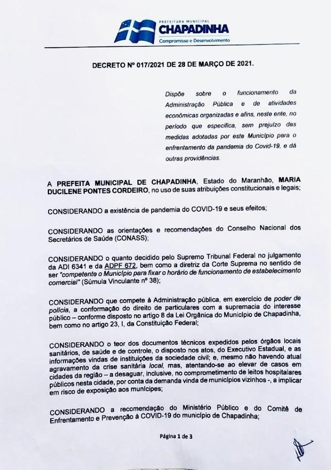 Prefeita Belezinha prorroga decreto atual por mais 7 dias.