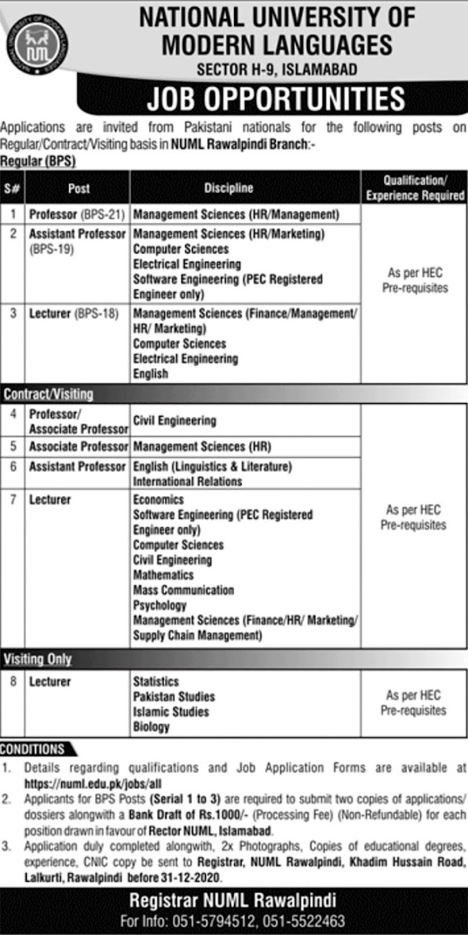 JOBS | NATIONAL UNIVERSITY OF MODERN LANGUAGES SECTOR H-9, ISLAMABAD