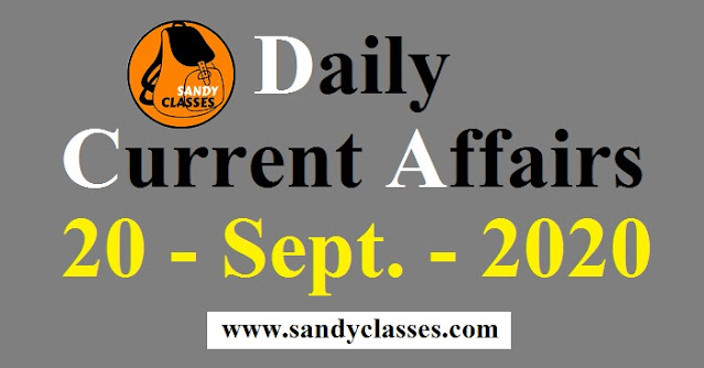 Daily Current Affairs in Hindi / English - 20 September 2020