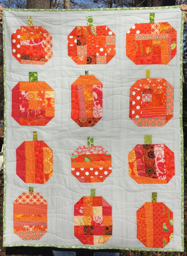 Orange Patchwork pumpkins quilt.