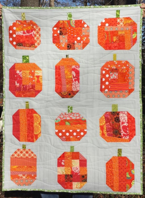 Orange Patchwork pumpkins quilt.