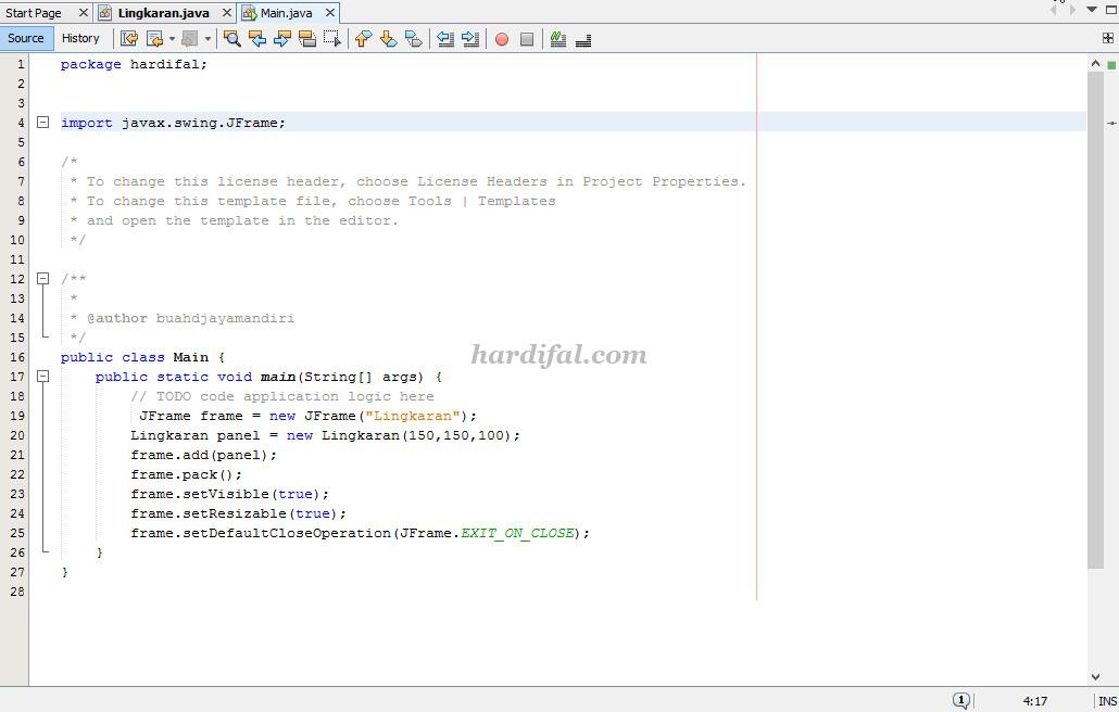 koding membuat garsi lingkaran bahasa java netbeans