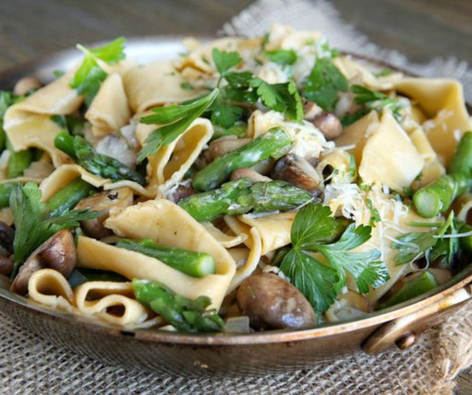 Spring Asparagus and Mushroom Pappardelle - food-drink-recipes.com