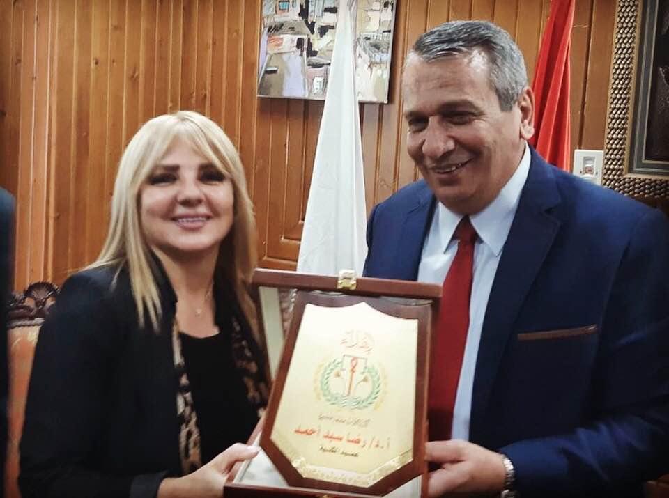 تكريم ندى بسيوني في جامعة المنصورة.. وتوقيع بروتوكول تعاون مع أكاديمية الفنون