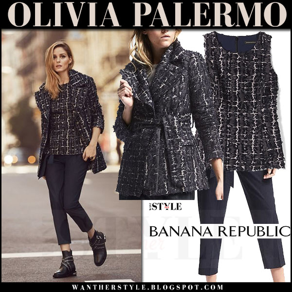 Olivia Palermo in navy textured blazer and navy textured peplum top and navy pants Banana Republic ss 2017 what she wore