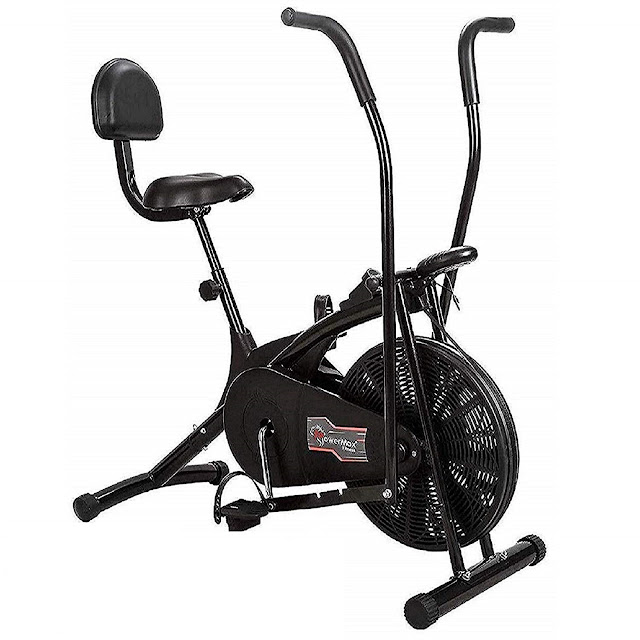 Powermax Fitness Air Bike with back support and moving handles Online Sale on Amazon
