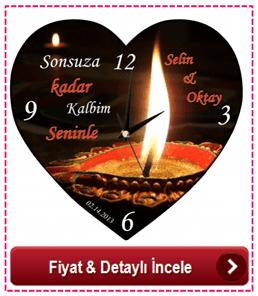 Kişiye Özel Romantik Kalp Duvar Saati