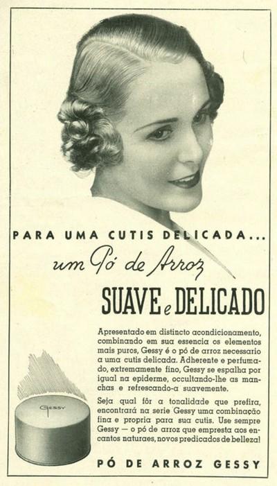 Propaganda antiga do pó de arroz da Gessy veiculada em 1936