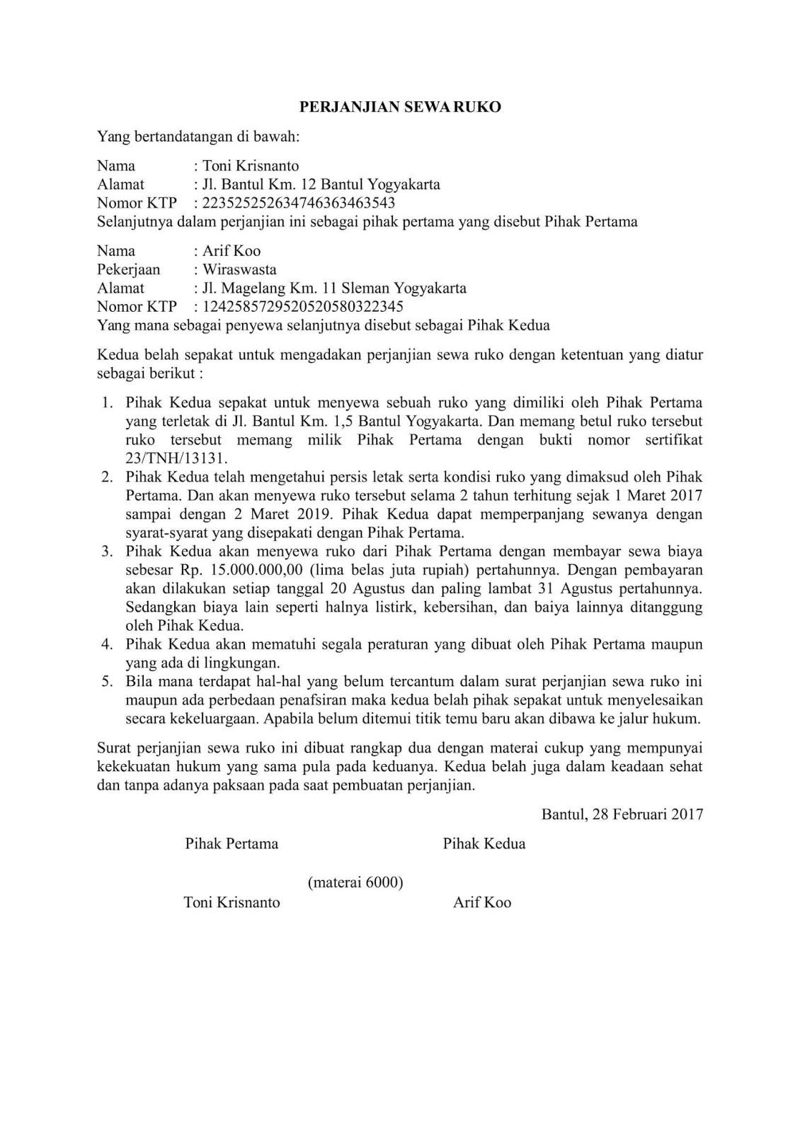 contoh surat perjanjian sewa ruko doc