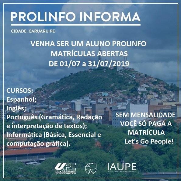 PROLINFO INFORMA - Matriculas cursos em Caruaru-PE
