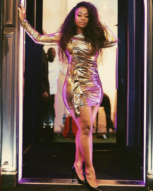 Boity Thulo Pairs Gold Bodycon Dress with Curly Hair!