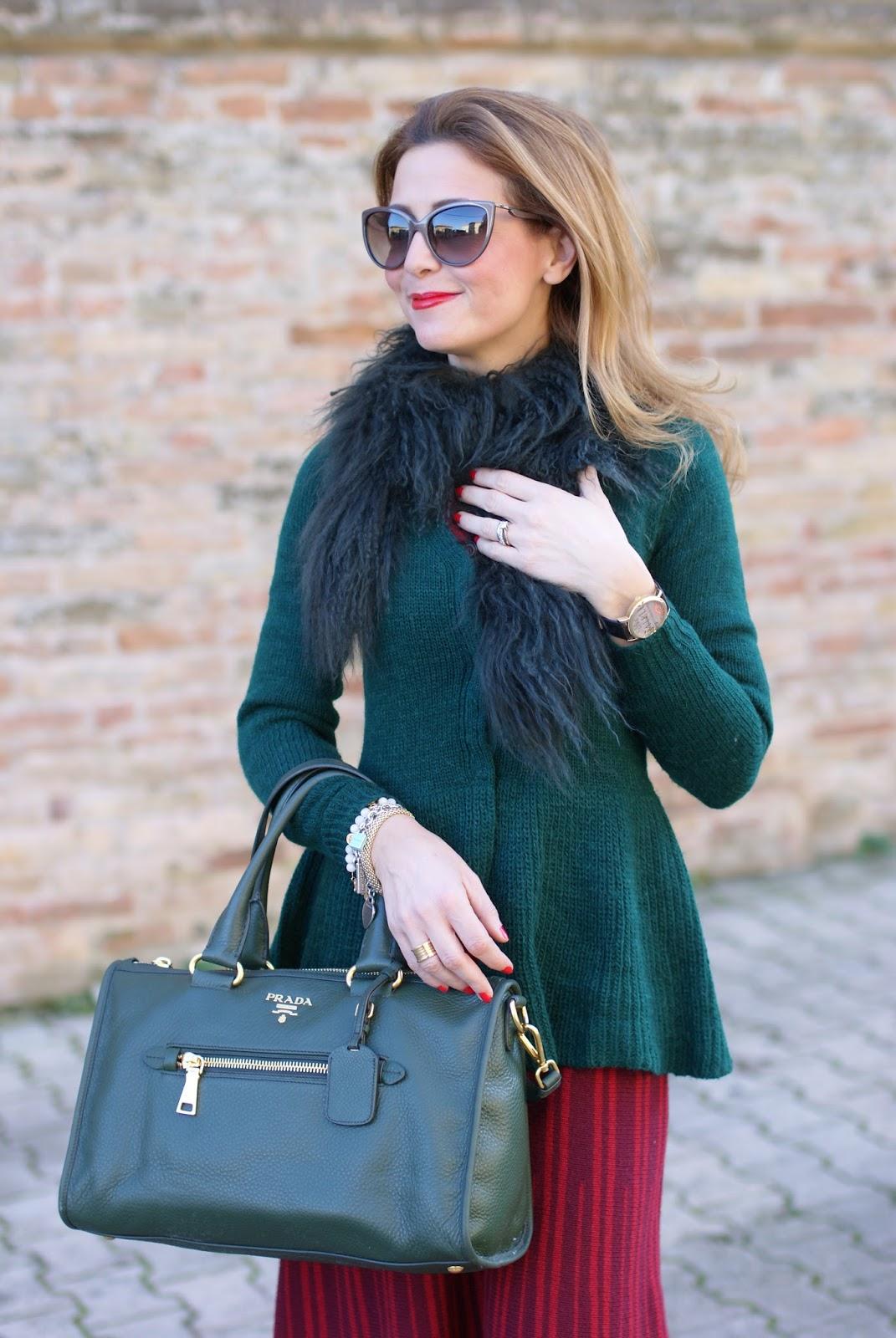 db0adb578d35 Il mio abito a righe in lana Rosè a Pois con accessori verdi