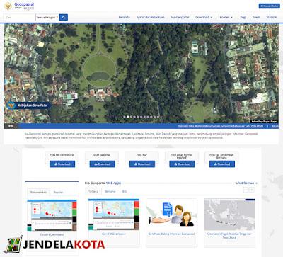halaman awal website ina geoportal untuk mendownload peta rbi jendela kota