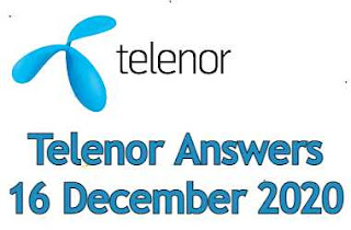 16 December Telenor Quiz | Telenor Answers 16 December 2020