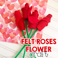 felt roses flower craft - Valentines day craft for kids.