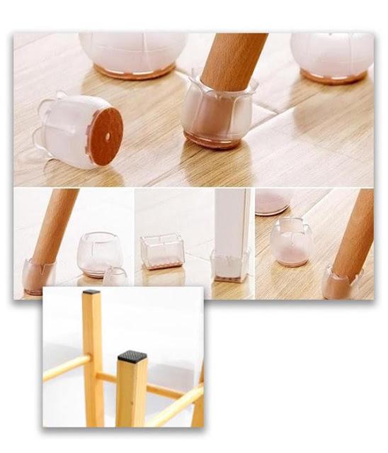 Pemberian karet pada furnitur untuk melindungi lantai kayu