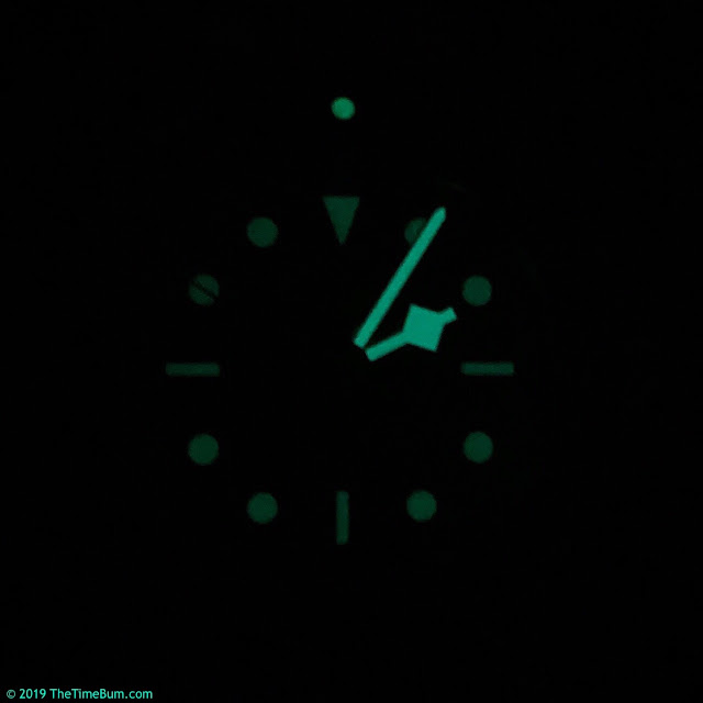 Octon automatic dive watch black green, black lume