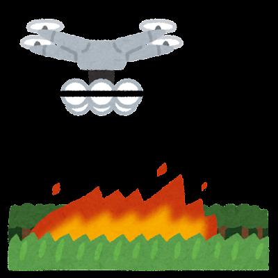消火活動をするドローンのイラスト