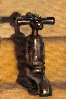 Oil painting of a 1950s-style chrome tap attached to a partially visible lemon-coloured basin.