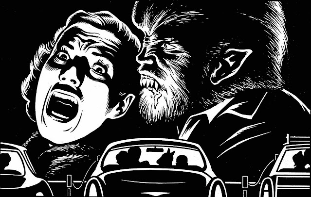 Charles Burns, the Wolfman at a drive-in theater