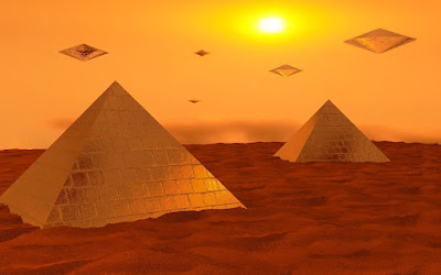 Diamond-shaped spaceships float above desert pyramids.