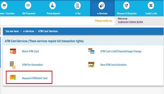SBI  Debid Card Apply Online