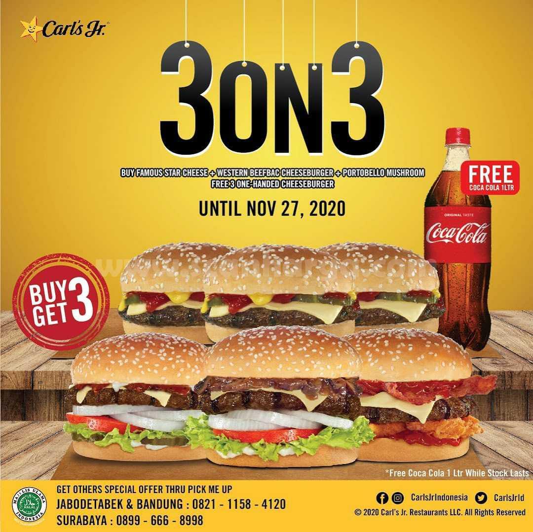 Carls Jr 3ON3 Promo Beli 3 Gratis 3 + Free Coca Cola