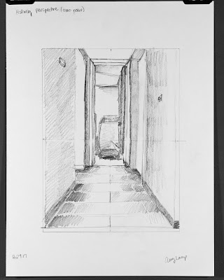 one-point perspective exercise from Drawing on the Right Side of the Brain