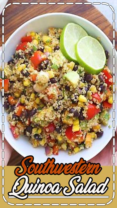 This spiced up Southwestern Quinoa Salad with roasted sweet potatoes, black beans and avocado makes for a quick and easy meal or flavorful side dish. #quinoasalad #southwesternrecipes #eatingbirdfood #roastedsweetpotatos